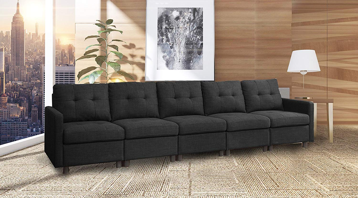 Magnificent Buy 5 Pieces Black Modern Modular Sectional Sofas In Cheap Evergreenethics Interior Chair Design Evergreenethicsorg