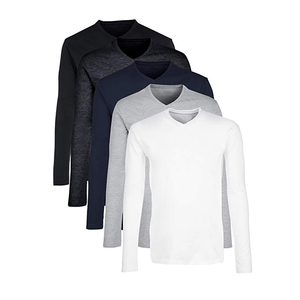 Wholesale Plain T Shirts Custom Shirts for Men 100% Cotton Long Sleeve Man T Shirt Slim Fit Plain White T-Shirts