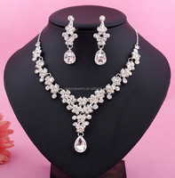 Artilady wedding dinner crystal necklace earring ring sets of luxury jewelry for women