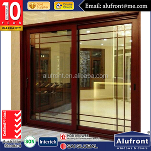US STANDARD Aluminum wooden sliding glass front door latest design