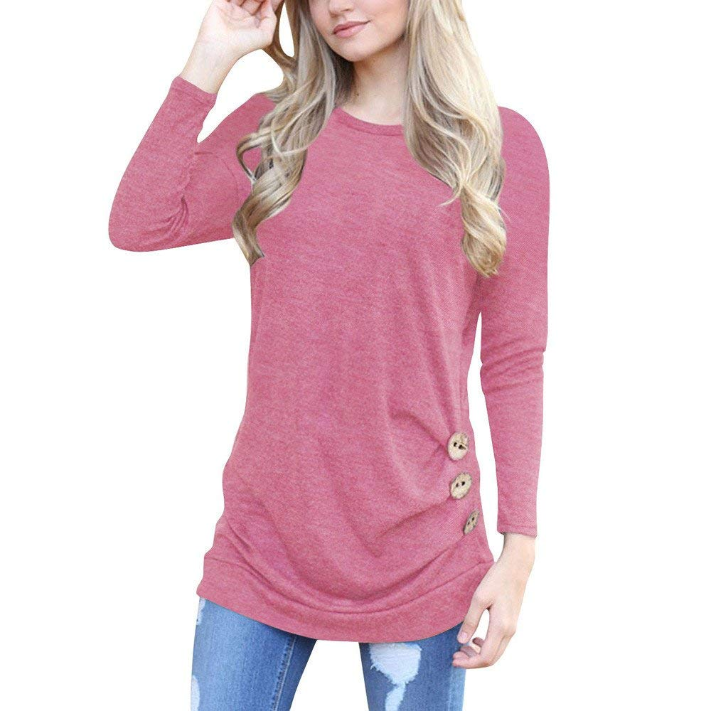 Womens Tops Clearance Sweatshirt Women Solid Shirt Long Sleeve Botton Blouse Casual O Neck Tops Plus Size
