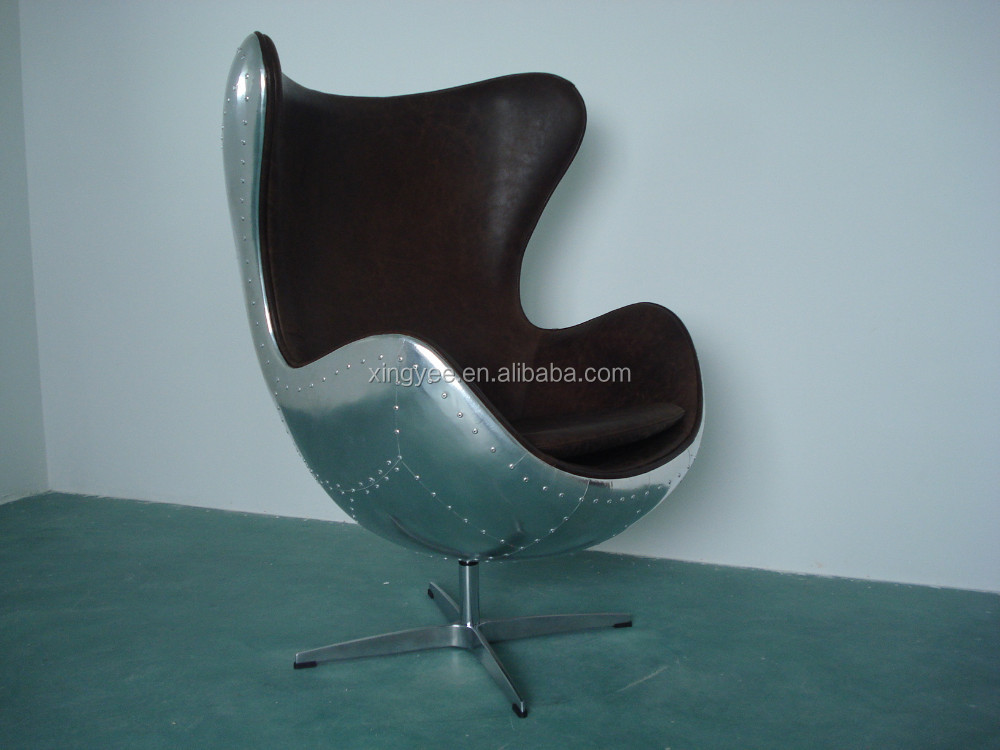 Modern Living Room Vintage Genuine Leather Arne Jacobsen Egg Chair Replica  Aluminum 1950s Copenhagen Oil Waxing Egg Chair.