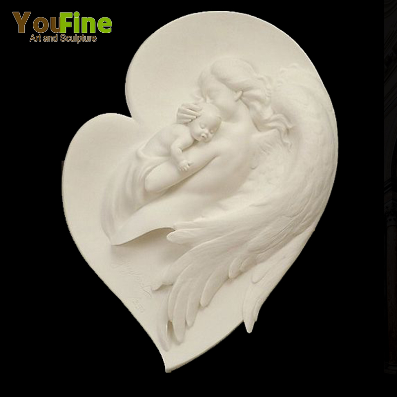 Artificial Angel and Baby Stone Wall Relief Statue