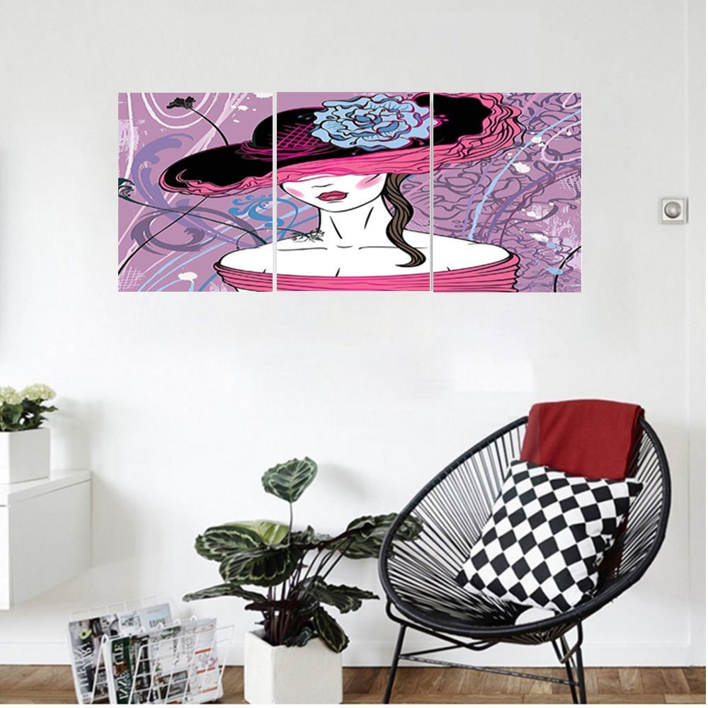 Liguo88 Custom canvas Grunge Home Decor Noble Lady From The Past With Nostalgic Hat On Vintage Backdrop With Grunge Details Bedroom Living Room Decor Pink Purple