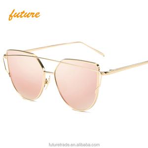 6963a50ceea Fashion Mirror Pink Ventage Rose Gold Unique Flat Cateye Sunglasses 2018  Oculos De Sol Women Sun
