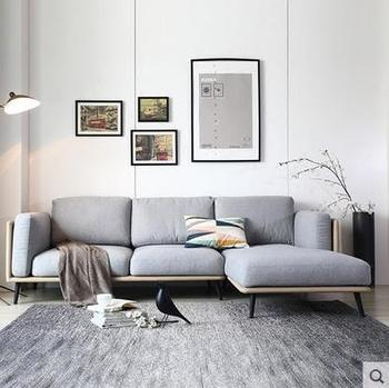 Tela Color Gris Muebles Modernos Sala De Estar Sofa Conjunto Con - Muebles-modernos-de-sala