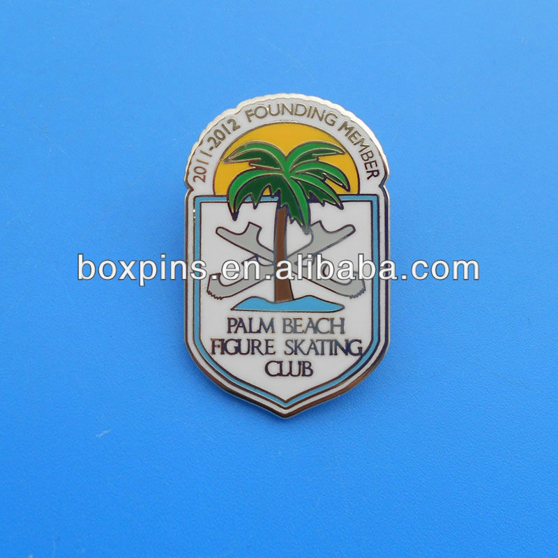 Off-set Printing Lapel Pin for Palm Beach Figure Skating Club