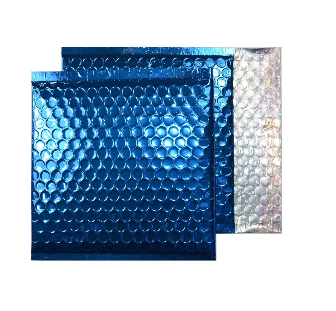20 Pack Metallic Bubble mailers 7 x 6.75. Blue padded envelopes 7 x 6 3/4. Glamour bubble mailers Peel & Self Sealing cushion packaging mailers. Poly mailing packing wrapping shipping envelopes.