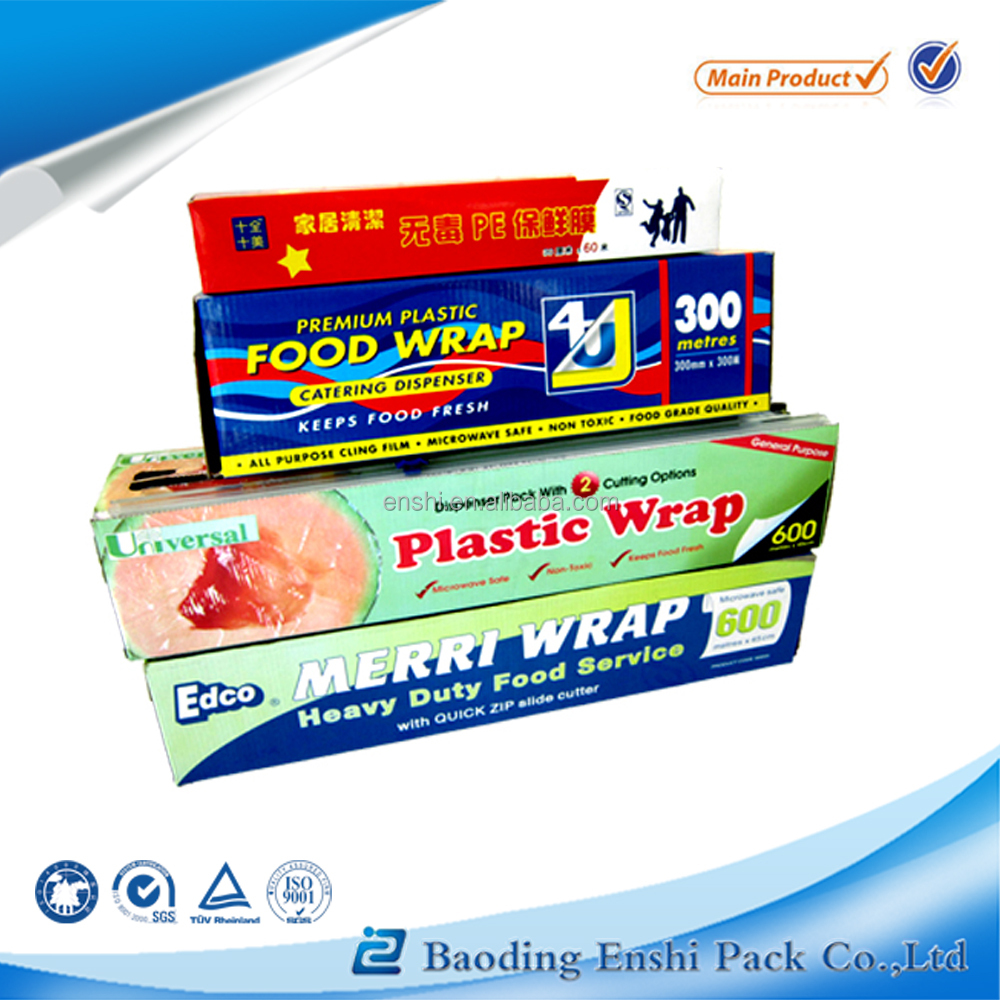 2016 popular thickness pe plastic wrap with cutter