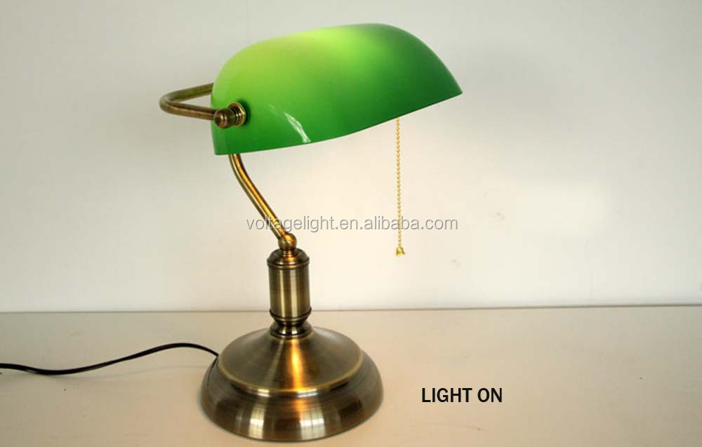 Industrial Vintage Retro Banker Table Lamp Brass Metal Base ...