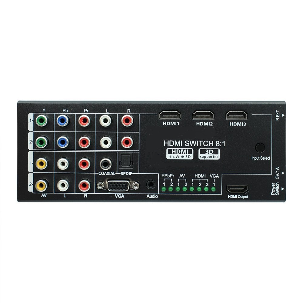 Multi-Function Video/Audio Switch Box with 8 Inputs to 1 HDMI Output with Spdif / Coaxial Surround 5.1 Channel Output