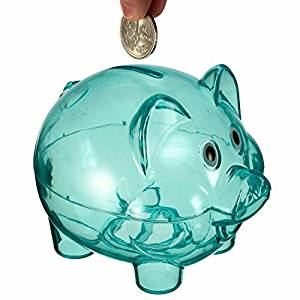 Clear Plastic PIGGY Bank Coin Penny Cent Money Cash Saving Safe Box With Opening Hole Pig Storage Tank Pig Toy