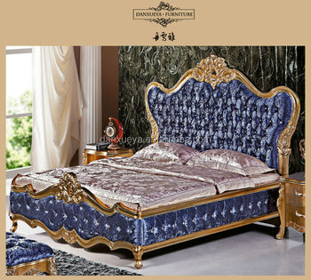 French style antique luxury royal wooden fabric hand - French style bedroom furniture sets ...