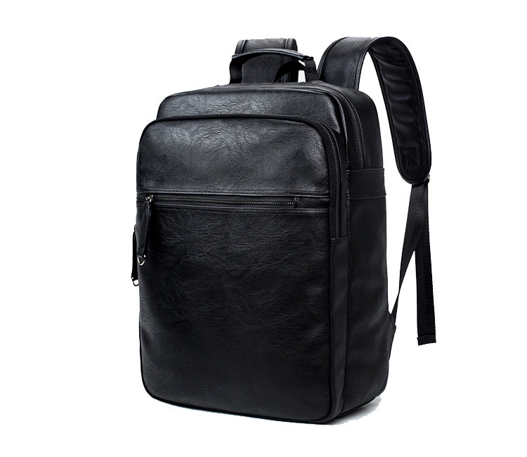2017 stylish travel black PU leather laptop backpack, fashion school leather daily bagpack for teenager and college
