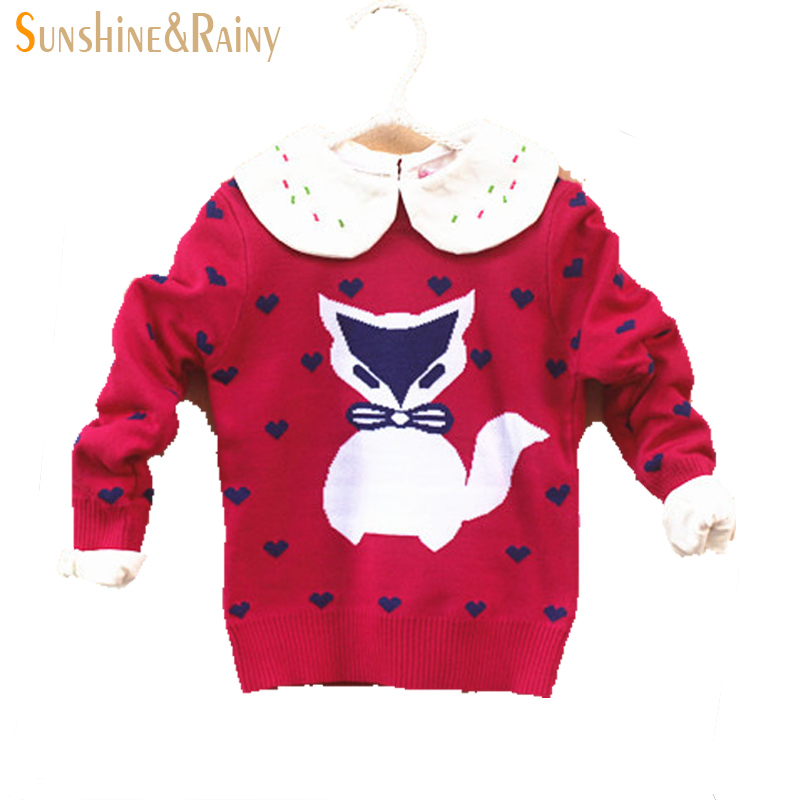 New 2015 autumn winter girls knitted sweaters cotton kids sweaters fox Double jacquard thicker section sweaters for girl 2T-6T