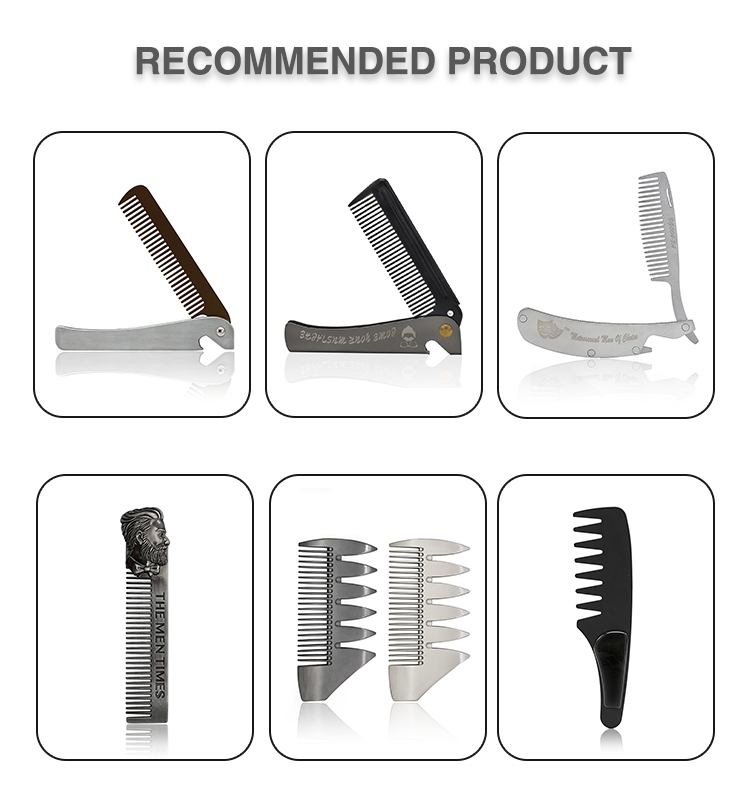 Hot Sale Plastic Handle Metal Tooth Lice Flat Comb With Wide Teeth Comb Styling Hairdressing Hair Comb