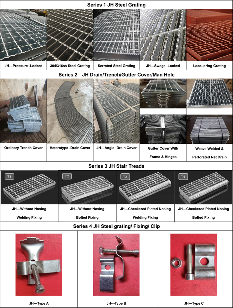 Grating Galvanized Metal Steps Steel Stair Tread Weight