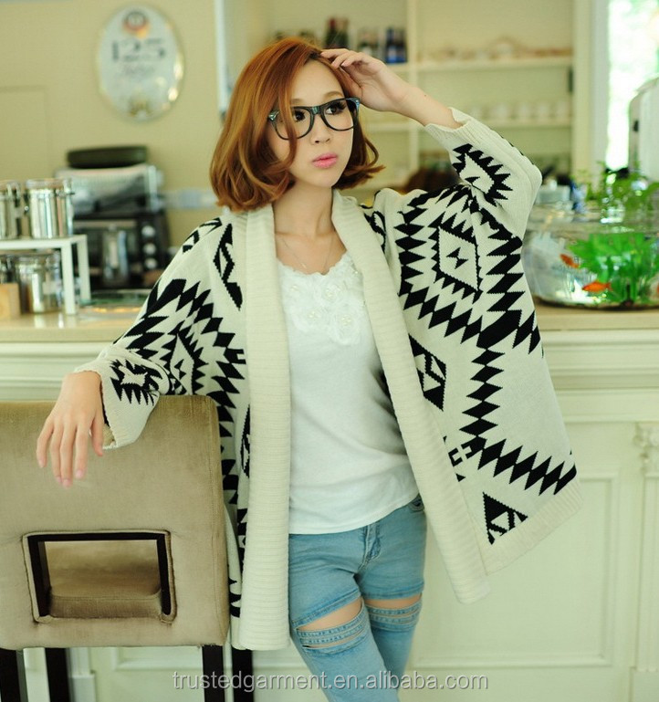 Women Long Style Knitting Patterns Sweater Aztec Cardigan - Buy ...