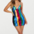 MULTI STRIPE SEQUIN STRAPPY CUP DETAIL BODYCON DRESS