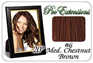 "Pro Extensions 20"" x 39"" #6 Medium Brown 100% Clip on in Human Hair Extensions"