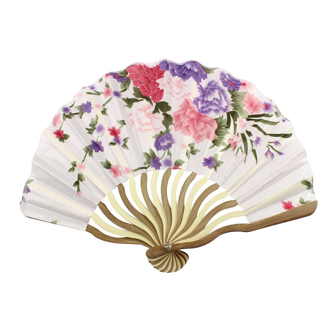 uxcell Bamboo Flower Printed Japanese Style Foldable Hand Held Fan Gift Decor