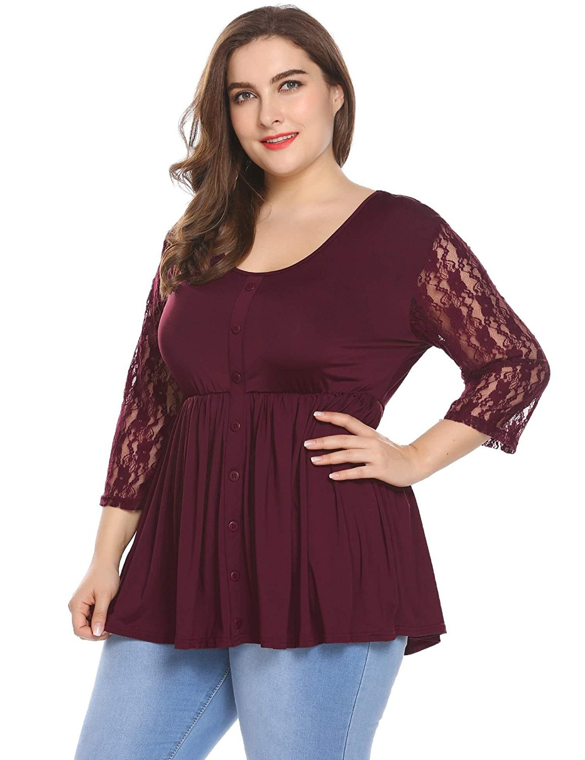 Zeagoo Womens Plus Size Casual T Shirt 3/4 Sleeve Round Neck Loose Tunic Tops Lace Patchwork Blouse