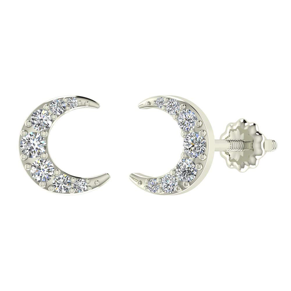 Moon Crescent Shape Pavé Diamond Earrings 0.48 ctw 14K Solid Gold (G,SI)