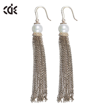 ODM OEM fashion jewellery manufacturer custom new pearl design long tassel zircon earrings