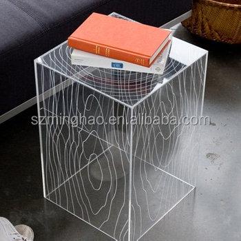 elegant transparent wood grain acrylic console console tablepmma console table