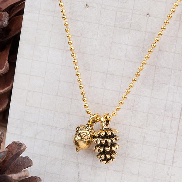 Fashion Style Gold Tone Antique Gold & Gold Plated Pine Cone Acorn Necklace 47cm long