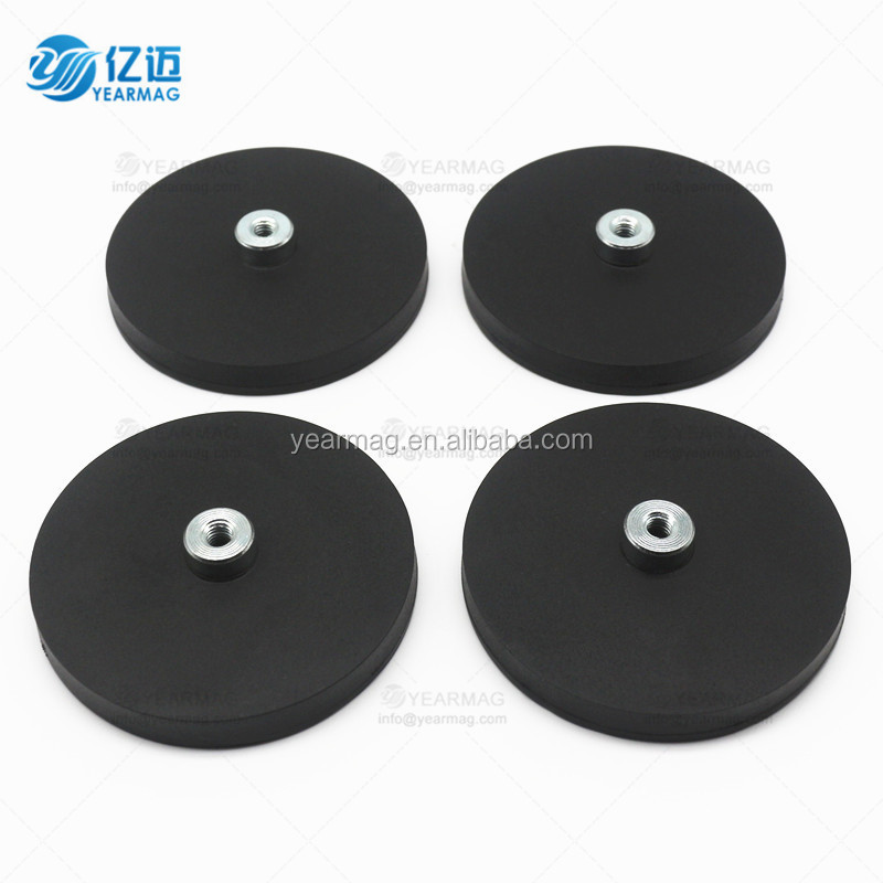 D66mm black rubber coated strong pot magnet with holding force 20kg