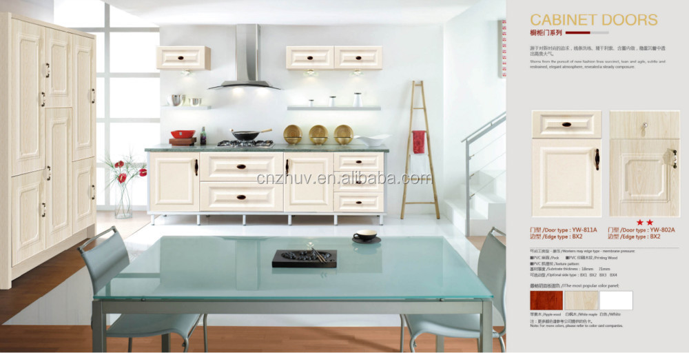 White High Gloss Polymer Sheets Kitchen Cabinet With Pvc Door Manufacturer