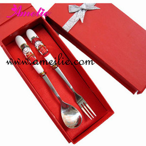 A07K06 Bride and Bridegroom Printing Spoon and Fork Cheap Wedding Gift For Guest