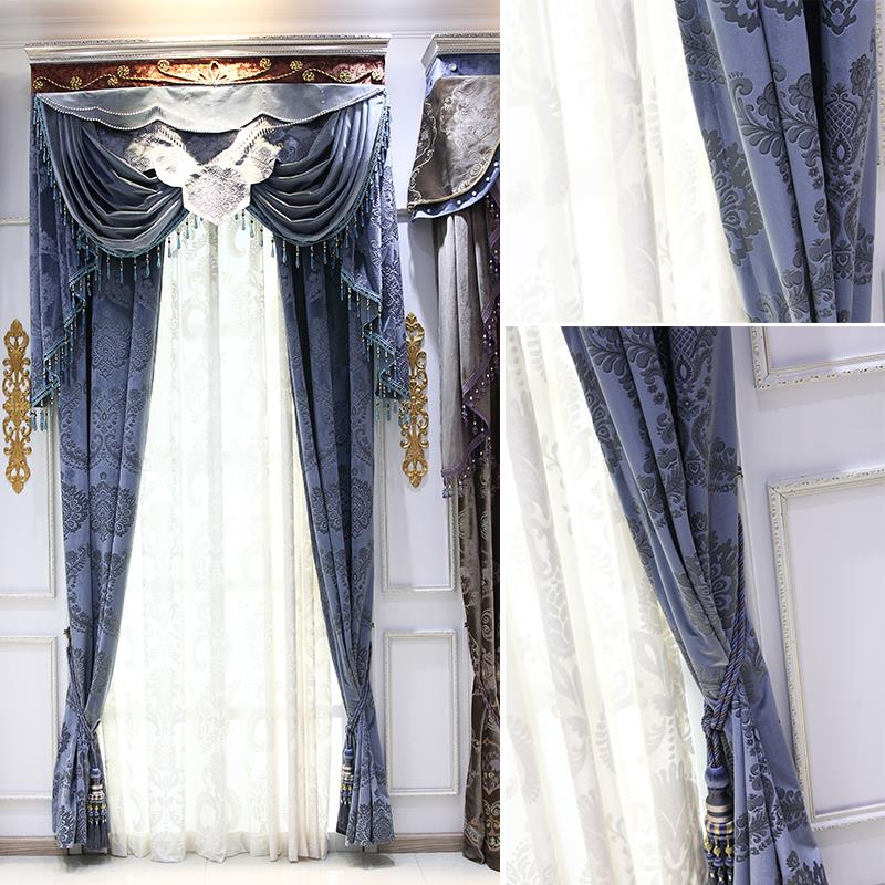 Processing custom <font><b>Italian</b></font> wool high-grade embossed fabric Europe type curtain luxury finished custom study atmosphere