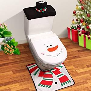 3pcs Set Santa Toilet Seat Cover Rug Christmas Decorations Bathroom Covers Towels