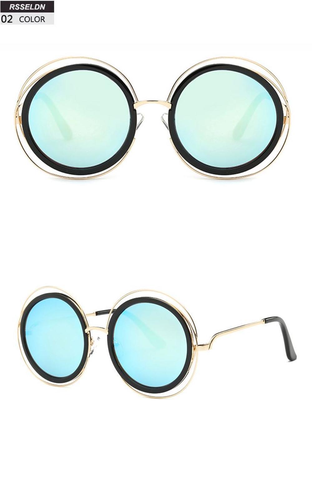 Boyarn Fashion Round Wire Frame Sunglasses Women Brand Retro Mirror ...