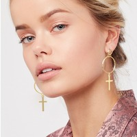 2017 Cross Brass hoop earring,Geometric jewelry gold earring designs without stones PR2145