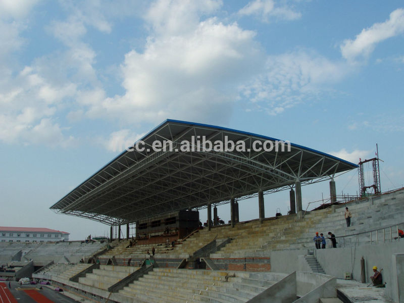 Outdoor space frame stadium bleachers with steel roof cover