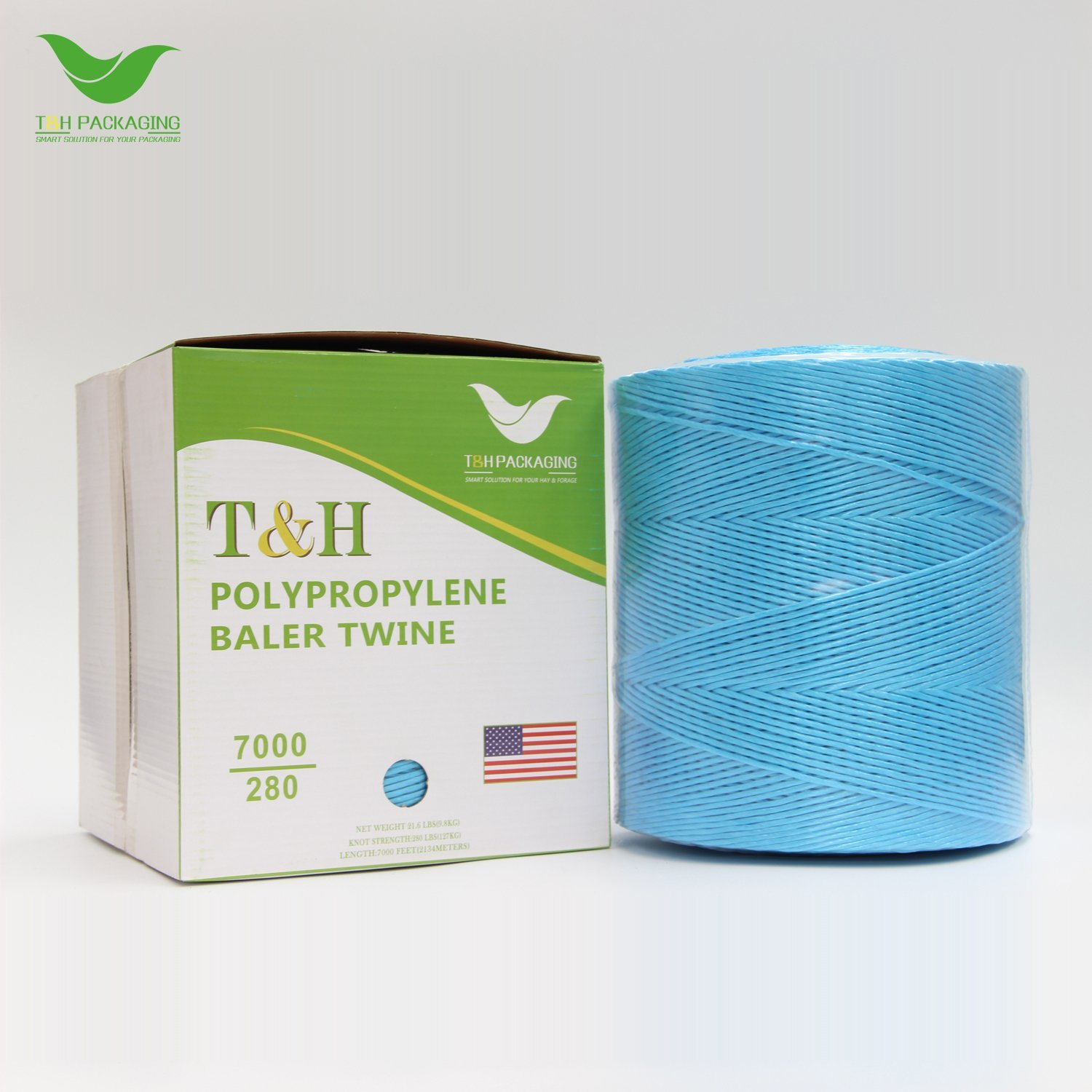 T&H Baler Twine 7000 Ft 280 Lb Tensile Poly Tying Twine for Square Baler, Blue (Pack of 6)