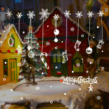 removable adhesive wall sticker white frozen snowflakes vinyl art decal sticker christmas window stickers - Christmas Window Stickers