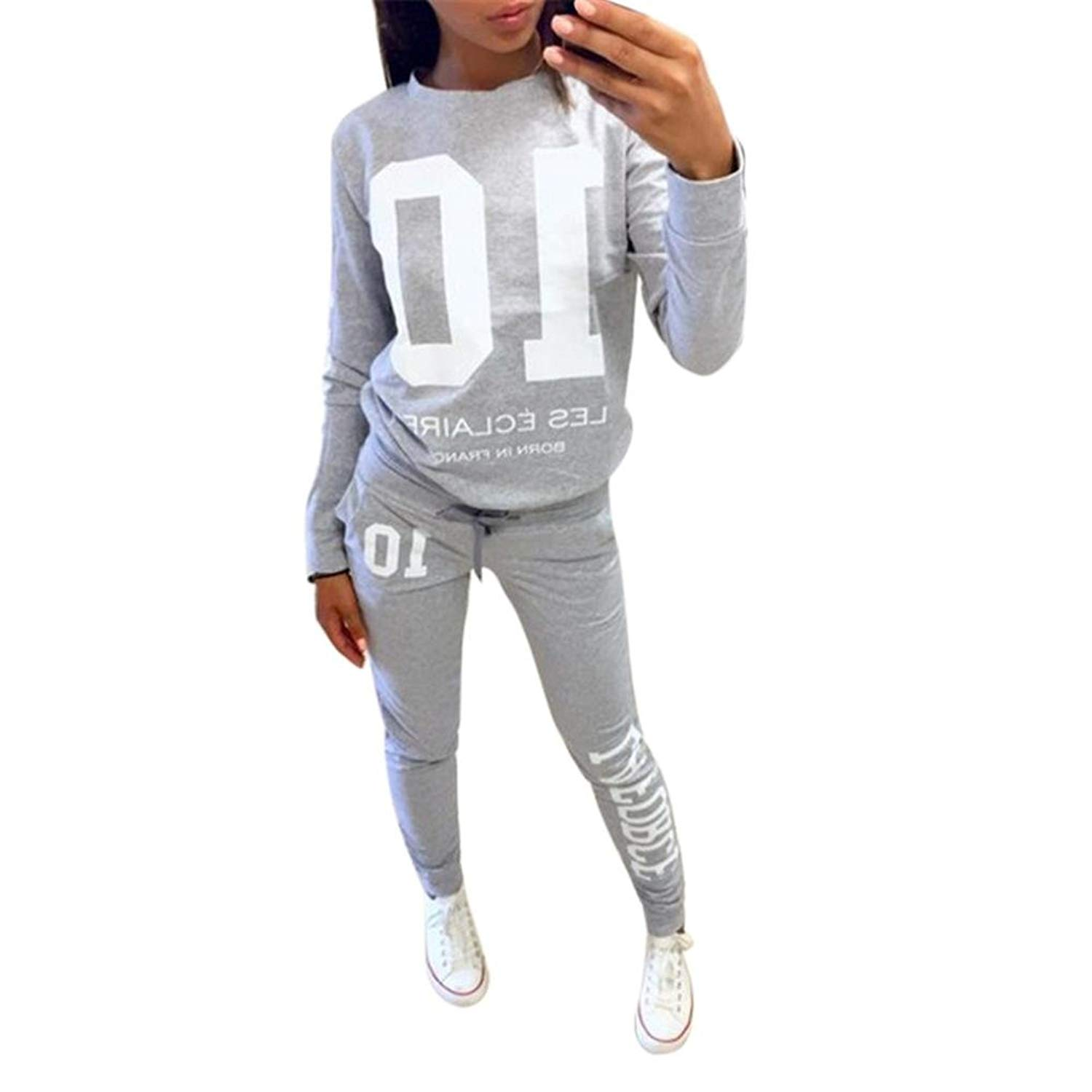 d80801d4a036b Get Quotations · Hatop Womens 2 Piece Tracksuit Sweatshirt Coat+Pant Trouser  Casual Tracksuit