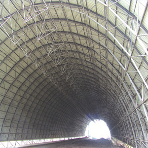 Galvanized steel space frame structure buildings dry coal storage bin with space frame roof.