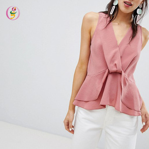 Knot Front Sleeveless Pink Tank Tops Women Ruffled Hem Soft V-neck Fitness Streetwear Camisole