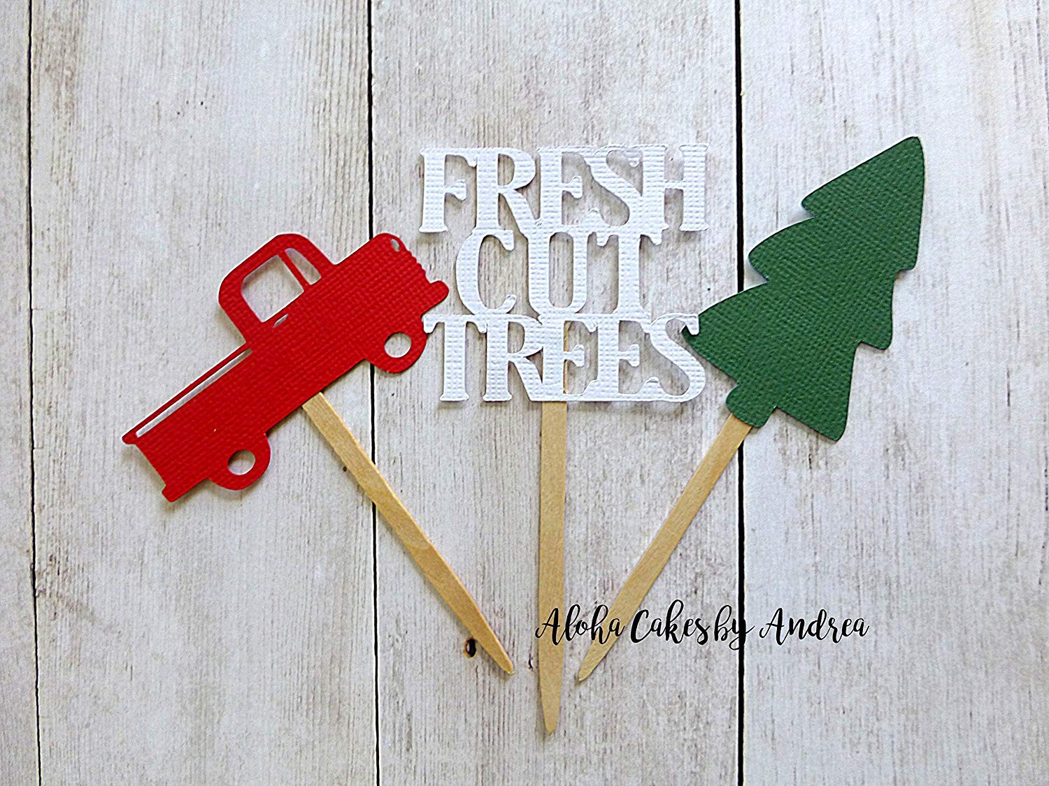 get quotations christmas cupcake toppers little red truck and tree christmas vintage party fresh cut