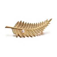 New Design Gold Plated Leaf Shape Wholesale Pearl Brooch