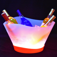White water wine large clear plastic Flashing light LED ice bucket 12L
