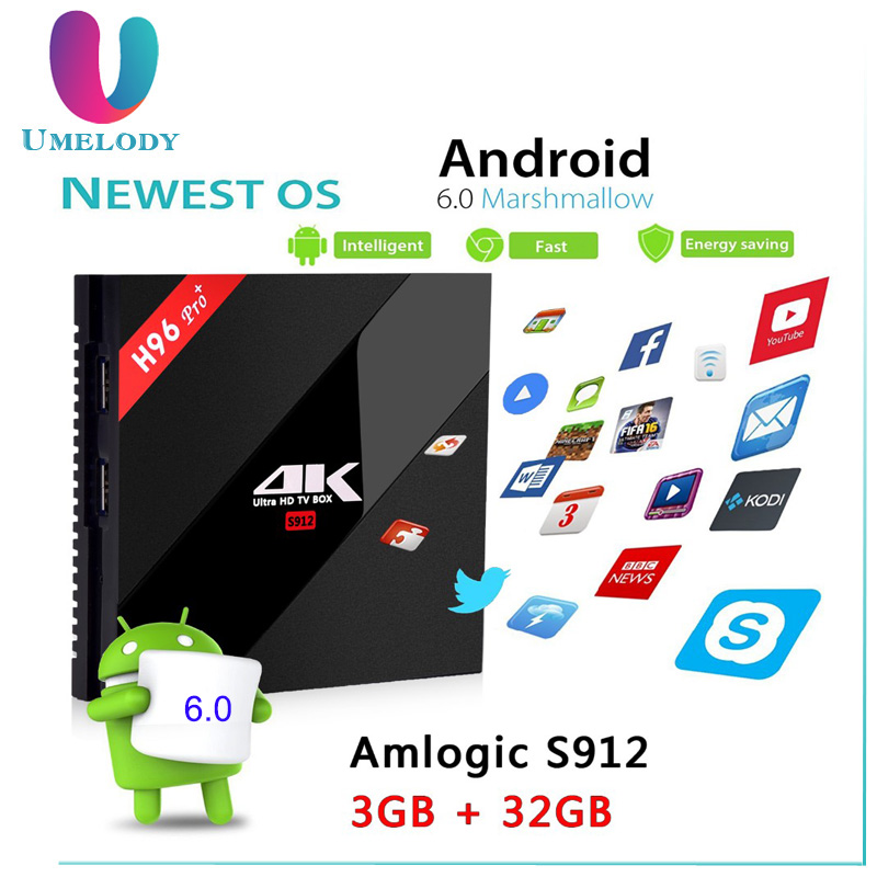 Umelody H96 Pro Plus Intel TV box Google Play Store App descargar gratis S912 Android 7.1Tv caja