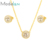 Modalen Two Pieces Gold Jewelry Cz Necklace Set Woman Joyeria Acero Inoxidable