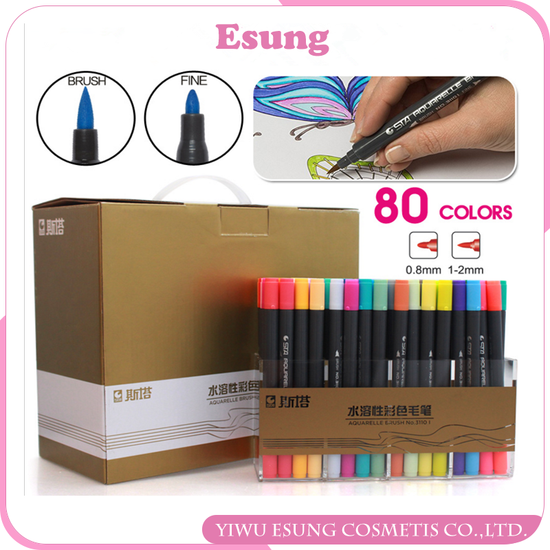 OEM Dual tip marker 80 Colors Double Head Artist Water Soluble Colors dual tip brush pens