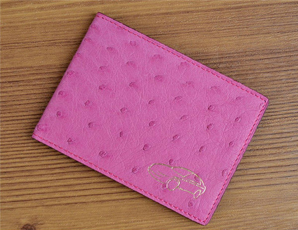 Ostrich Leather Card Holdel Driver's License Card Holder
